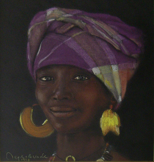 jeune femme sénégalaise, pastel, Sénégal, Dakar, Afrique,