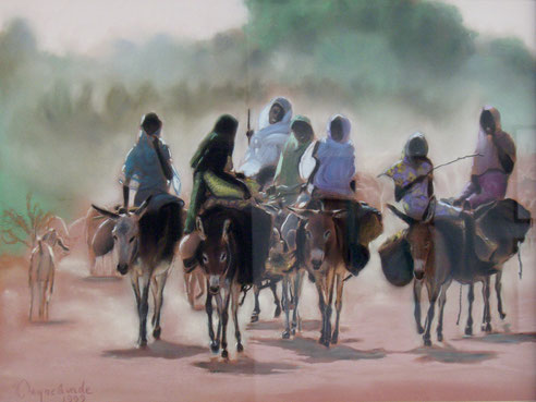 femmes sur les ânes, pastel, Nil, Afrique
