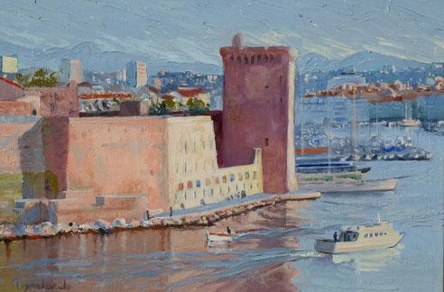 Marseille, Fort Saint Jean et navette du Frioul Jacques Peyrelevade huile sur toile,35x24 tour roi René mucem