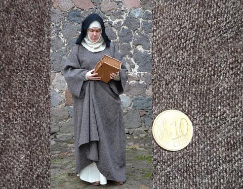 Handgewebt : 2/1er Köper für die Darstellung einer Ordens Frau ( Zisterzienser ) im 12ten Jahrhundert
