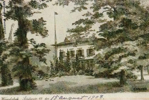 Sommerresidenz der Familie Sauber, Radierung von D. Dalmer