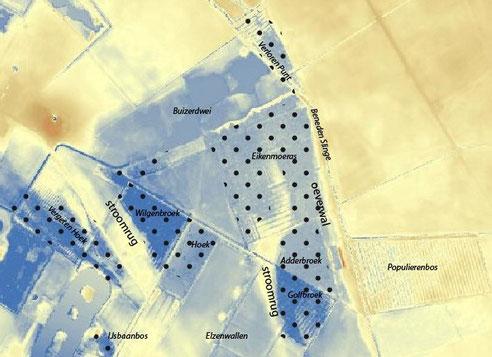hoogtekaart met broekbossen