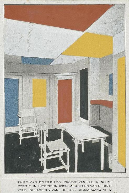 Theo van Doesburg et Gerrit Rietveld, Intérieur de la maison de Bart De Ligt, 1919.