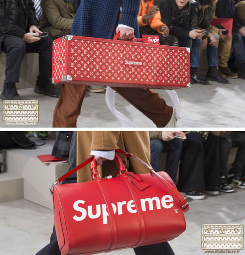 collaboration supreme louis vuitton 2017 2018 fashion week Paris red LV