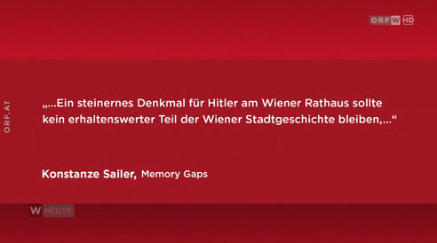 ORF Wien: Interview Konstanze Sailer, Memory Gaps, 08. April 2019, Artikel und Video.