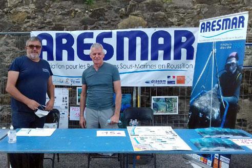 Michel, Franck et Elodie ont tenu le stand aux couleurs de l'Aresmar