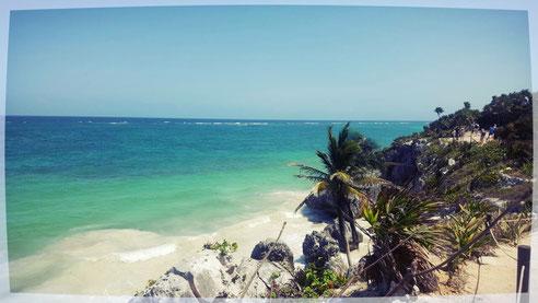 Die direkt an der karibischen Küste liegende Maya-Stätte Tulum - einst Handelsknotenpunkt und Verteidigungsstätte der indigenen Bevölkerung.