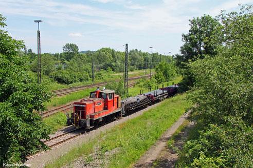 "363 826 (BSS-Bahnservice Saarland GmbH) im Anschlussgleis zum ""Röhrenwerk"" Bous, 10.06.2016"