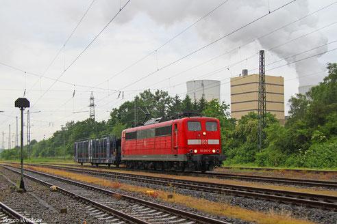 151 032 mit EK 55981 Fürstenhausen - Saarbrücken Rbf Nord, 08.06.2016