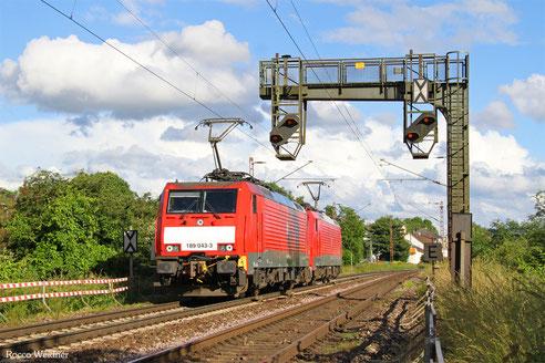 DT 189 043 + 189 065 als T 67921 Dillingen(Saar) - Saarlouis - Dillingen Hochofen Hütte (Sdl. Drehfahrt), Saarlouis-Roden 15.06.2016