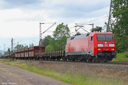 152 113 mit GM 62601 Oberhausen West Orm - Einsiedlerhof (Sdl. leere Werksgüterwagen), Ensdorf(Saar)18.06.2016