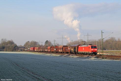 185 061 mit EZ 51917 Saarbrücken Rbf Ost - Mannheim Rbf Gr.M, Vogelbach 26.02.2016