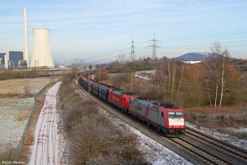 DT 185 599 + 185 569 mit DGS 98583 Duisburg-Ruhrort Hafen - Neunkirchen(Saar) Hbf ( Crossrail Benelux Sdl. ), Ensdorf 18.01.2016