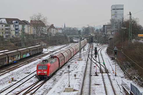 145 055 mit GM 60439 Auersmacher - Dillingen Zentralkokerei, Saarbrücken-Burbach 19.01.2016