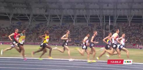 Andreas Vojta im heutigen Finale über 5000m - eine Runde vor dem Ziel (screenshot vom livestream)