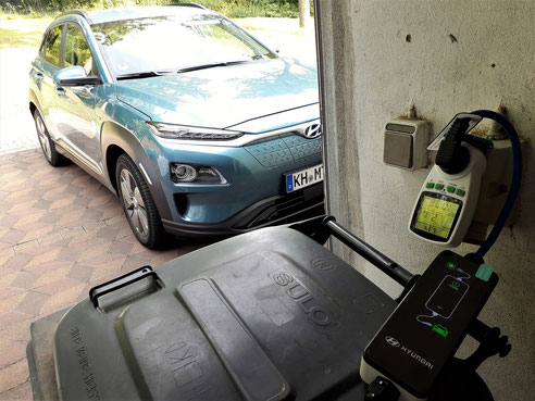 Hyundai Kona am ICCB Ladeziegel