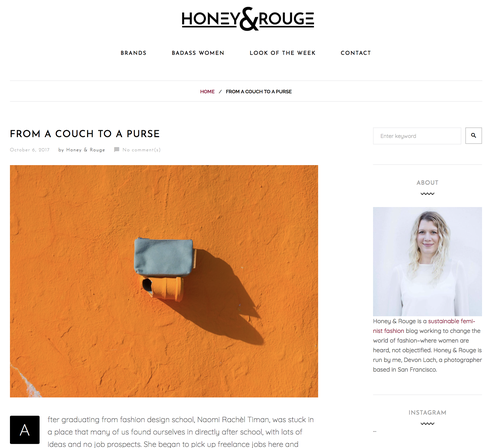 From a couch to a purse by Honey & Rouge