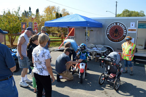 The Hackensack Chainsaw Event was our most successful event ever to display our ATV Safety Ed Trailer, pass out maps and sign up new members. We geared up kids to sit on our Polaris 90 ATV and Honda 50 dirt bike, both purchased with a Polaris TRAILS grant