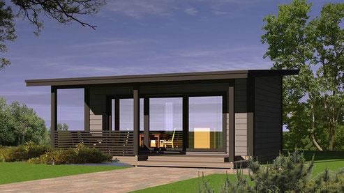 Casas de madera modernas, nórdicas, de madera finlandesa.