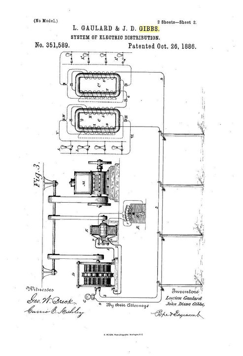 US351,589 - System of electric distribution - Oct. 26, 1886. Patent used by Westinghouse company.