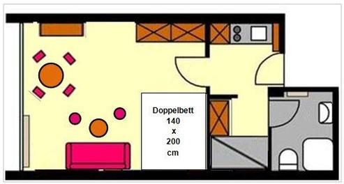 1 1/2 Raum Apartement bis 4 Personen
