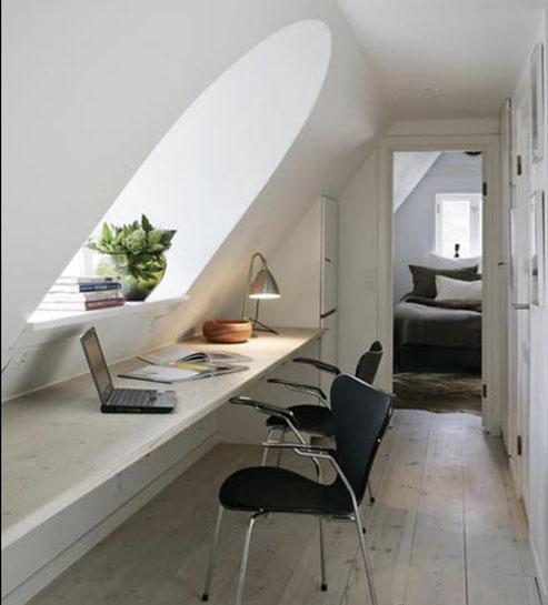 décoration bureau, bureau dans petit espace, inspiration bureau, bureau dans couloir