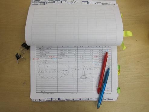 赤がチェック、査定項目。青が減額案内容。