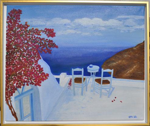 Griechische Terrasse Öl auf Leinwand, in Schattenfugenrahmen,  (60 x 50 cm). Auftragsarbeit Preis: 120,-€