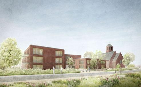 Gemeindehaus, Kita und Wohnungsbau bei der St. Michaelskirche Hamburg Sülldorf 3.Preis Herr & Schnell Architekten Hamburg