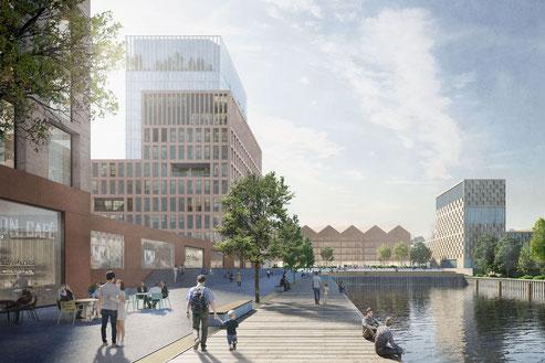 Quartiersentwicklung Halbinsel Kesselstraße Düsseldorf Städtebaulicher Wettbewerb 2019 Anerkennung Herr & Schnell Architekten Hamburg
