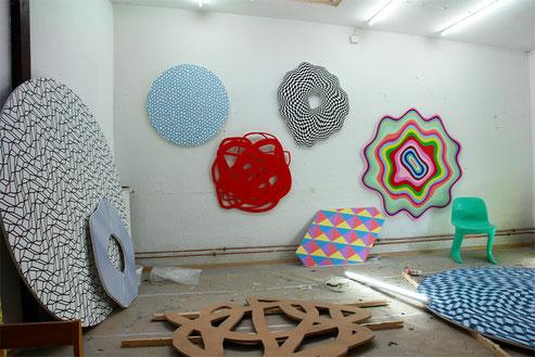 Jean-Claude Houlmann, Atelieransicht, verschiedene Arbeiten
