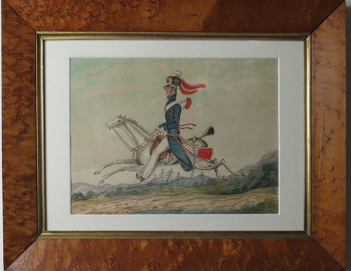 English 19th century naive folk art watercolour, a soldier on his horse