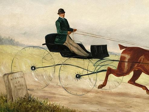 Ginger the Cabber, London to Brighton horse race 1886 .Folk art oil painting