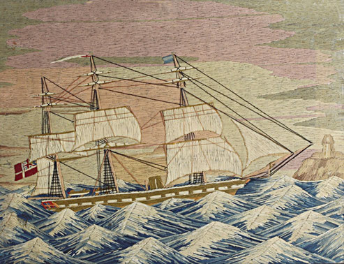 Large Sailor's Folk Art Woolwork