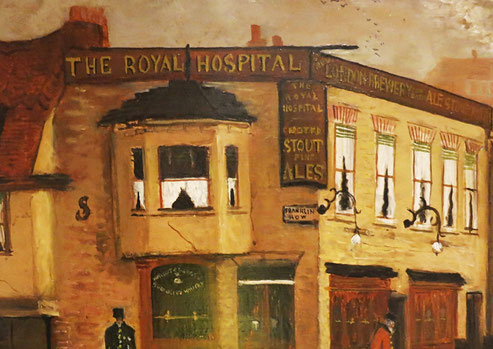 Naive townscape: The Royal Hospital Pub, Chelsea, London