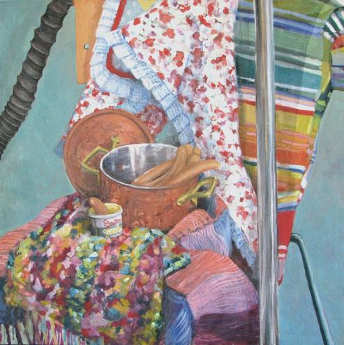Tisch 02/12, Format 90 x90 cm, Eitempera/öl-Lasur af Canvas, 2012