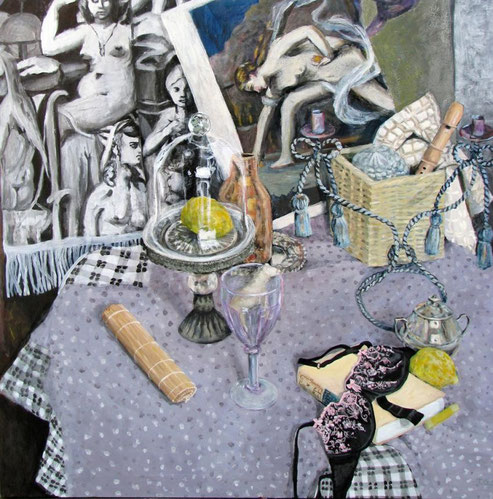 Runder Tisch 03/09, Format 120 x 120 cm, Eitempera/Öl-Lasur auf Canvas, 2009