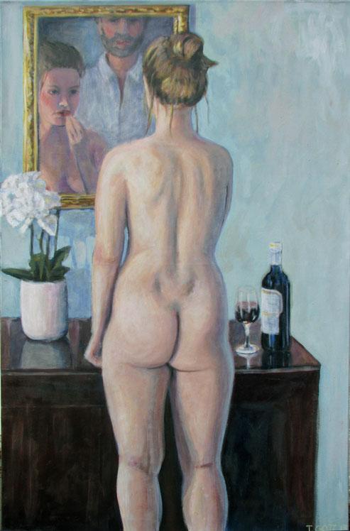 Vor dem Spiegel, Format 80 x 125 cm, Eitempera/Öl-Lasur auf Leinwand, 2013