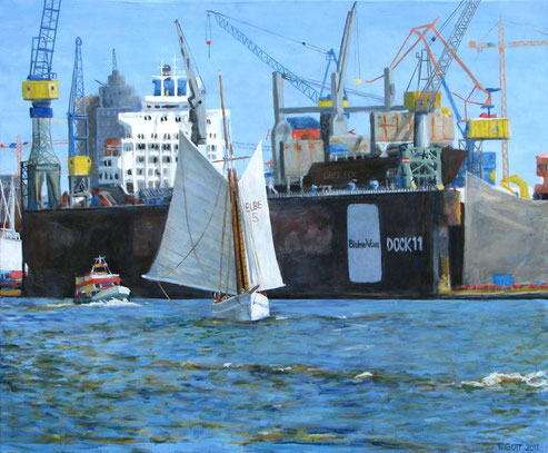 Dock 11, Format 120 x 100, Eitempera/Öl-Lasur auf Canvas, 2011