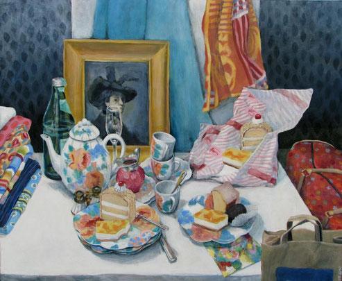 Tisch 01/11, Format 120 x 100 cm, Eitempera/Öl-Lasur auf Canvas, 2011