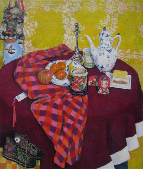 leuchtendes Stilleben royal Kopenhagen Kuchen silber Leuchter Muster zeitgenössische Malerei Gemälde