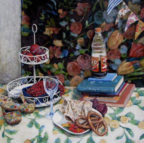 Tisch 01/12, Format 90 x 90 cm, Eitempera/Öl-Lasur auf Canvas, 2011