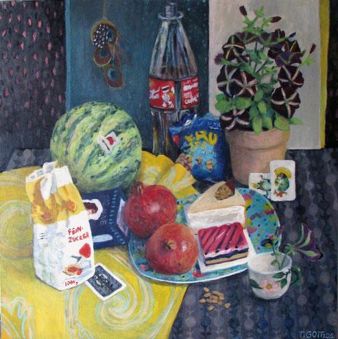 Tisch 01/12, Format 90 x90 cm, Eitempera/Öl-Lasur af Canvas, 2012