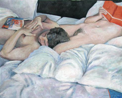 Lesend, Format 80 x 100 cm, Eitempera/Öl-Lasur auf Canvas, 2014