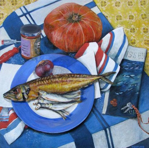 Tisch 02/12, Format 90 x 90 cm, Eitempera/Öl-Lasur auf Canvas, 2011