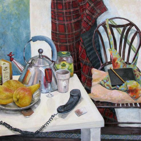 Tisch 03/11, Format 90 x90 cm, Eitempera/öl-Lasur af Canvas, 2011