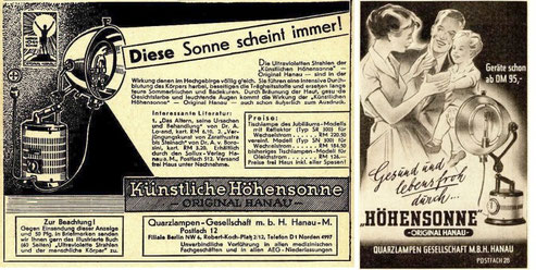 Original Hanau advertising from the late 1940s Höhensonne sunlamp