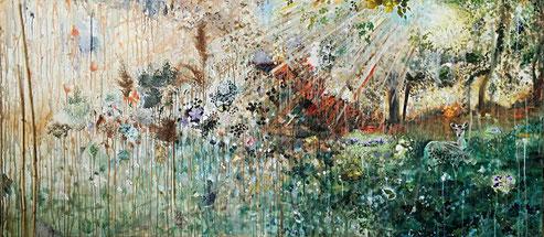 Colours of nature. 80x180. Gemengde techniek op canvas. 2016.