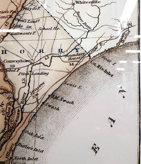 Mid-1800s coastal and Horry County map, before Myrtle Beach township