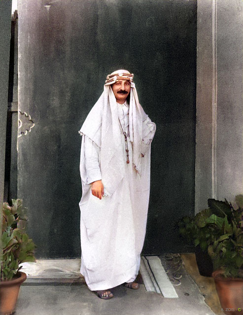 Mid-1930s : Meher Baba wearing an Arabian costume in a Nasik studio, India. Image colourized by Anthony Zois.